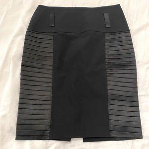 Faux Leather Trim Midi Skirt